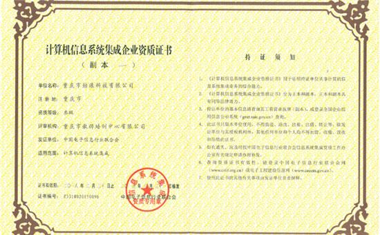 系统集成三级企业资质证书