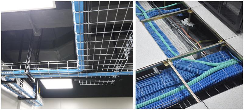 线缆铺设-劲浪科技均采用100%原装正品线缆,沿桥架或管道敷设,排列整齐,每隔一米用魔术扎带进行捆扎,便于维护。