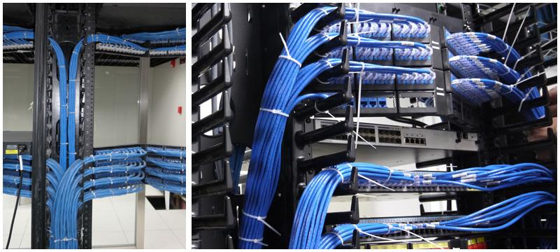 机柜安装-为网络设备及水平配线架安装提供了统一摆放空间,机柜内的理线整齐排列,便于跳接、查找, 且理线更美观。
